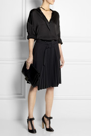 Maison Martin Margiela Wool-blend and pleated matte satin skirt