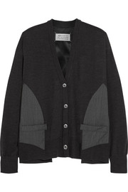 Twill and satin-paneled wool cardigan