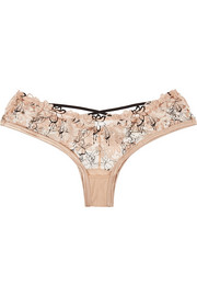Yoshie floral-embroidered stretch-tulle briefs