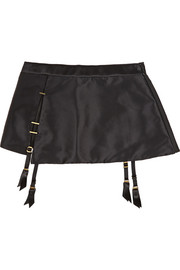 Patti embellished stretch-silk satin suspender belt