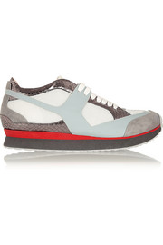 MM6 Maison Martin Margiela Suede, snake-effect leather and mesh sneakers