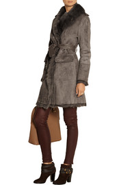 Burberry London Leather-trimmed shearling coat