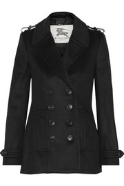 Burberry London Leather-trimmed wool and cashmere-blend coat