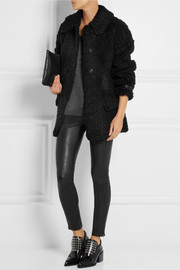 Burberry London Oversized leather-trimmed shearling coat