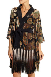 Mistie fringed devoré-velvet and chiffon robe