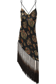 Mistie fringed devoré-velvet and chiffon chemise