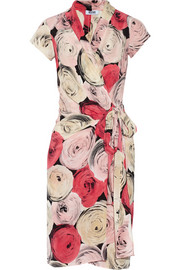 Moschino Cheap and Chic Printed silk crepe de chine wrap dress