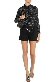 Moschino Cheap and Chic Embellished wool-crepe shorts