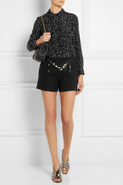 Moschino Cheap and Chic Ruffle-trimmed star-print silk blouse