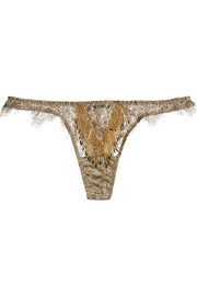 Soirée Zarrinia metallic beaded lace thong