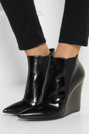 Burberry Shoes & Accessories Glossed-leather wedge ankle boots