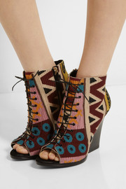 Burberry Prorsum Wool-blend tapestry boots