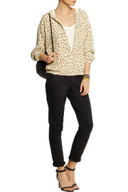 Equipment Vermont leopard-print washed-silk hooded top
