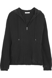 Vermont washed-silk hooded top