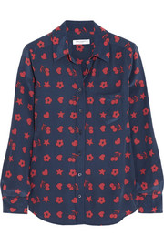 Equipment Brett printed washed-silk shirt
