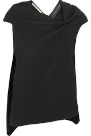 Roland Mouret Eugene draped open-back wool-crepe top