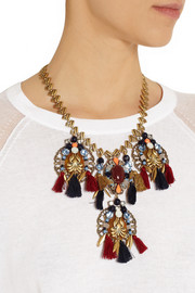 J.Crew Chevron Tassel gold-plated multi-stone necklace