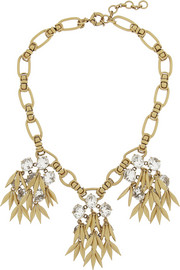 J.Crew Jeweled Quill gold-plated crystal necklace