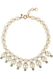 J.Crew Royal gold-tone, faux pearl and cubic zirconia necklace