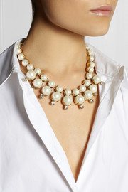 J.CrewRoyal gold-tone, faux pearl and cubic zirconia necklace