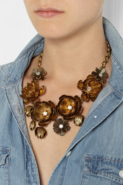 J.Crew Cast Wildflower gold-tone crystal necklace