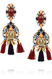 J.Crew Chevron Tassel gold-plated, Czech stone and jade earrings