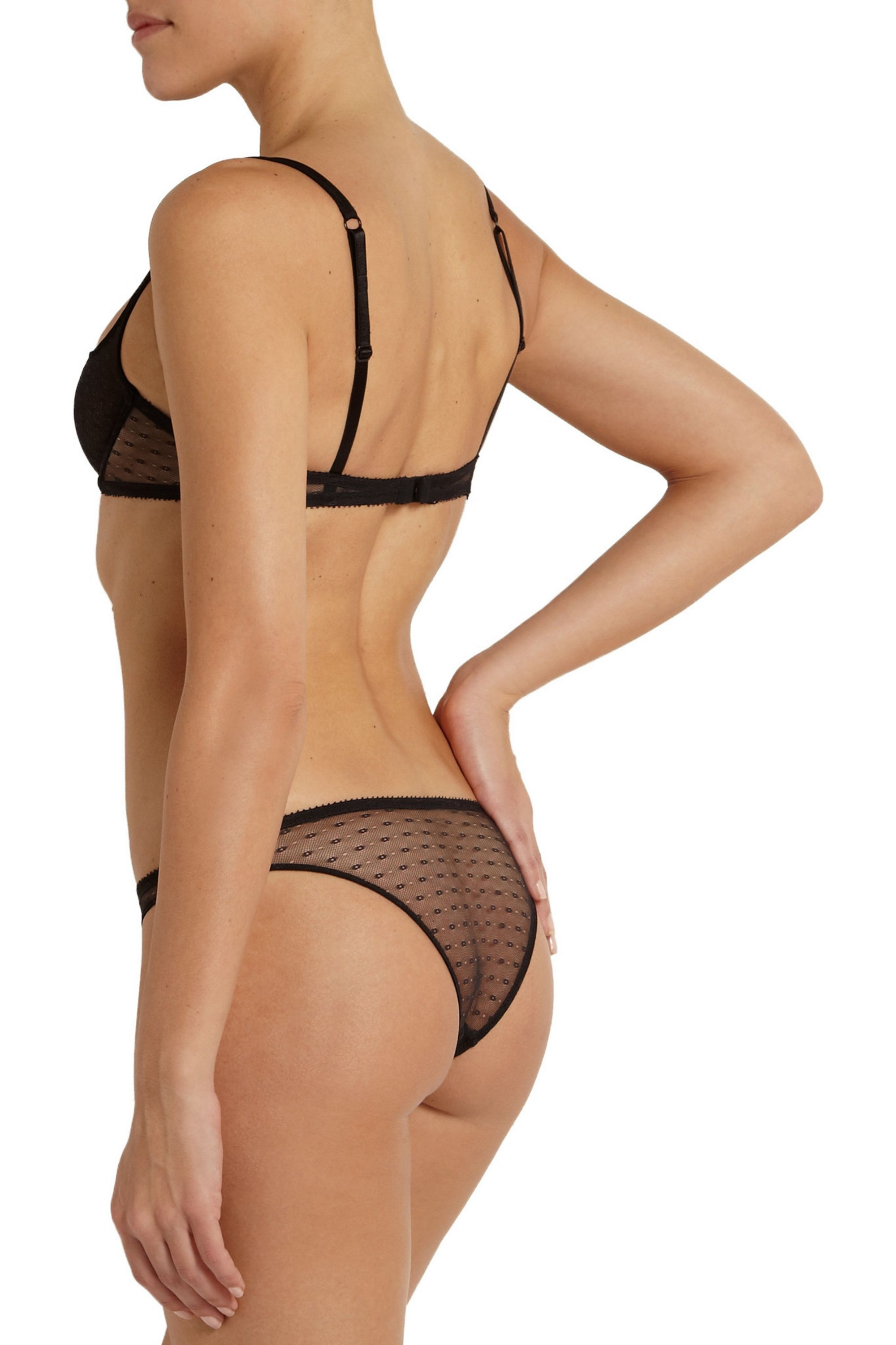 Yasmine Eslami Tara low-rise lace-trimmed stretch-tulle briefs