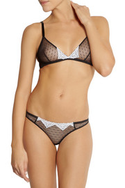 Tara lace-trimmed stretch-tulle briefs