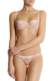 Yasmine Eslami Tara lace-trimmed stretch-tulle briefs