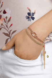 Carolina Bucci Double Lucky 18-karat gold, silk and sapphire bracelet