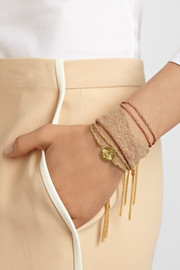 Carolina Bucci Virtue Lucky 18-karat gold, diamond and silk bracelet