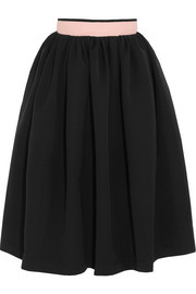 Everly pleated stretch-crepe skirt