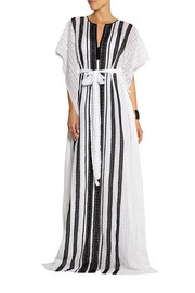 Oscar de la Renta Striped crocheted cotton kaftan