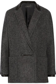 Rag & bone Primrose leather-trimmed wool-blend coat