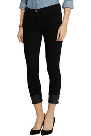 Rag & bone The Capri leather-trimmed mid-rise skinny jeans