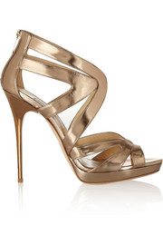 Collar mirrored-leather sandals