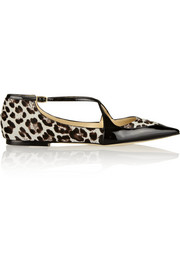 Jimmy Choo Gamble patent-trimmed calf hair point-toe flats