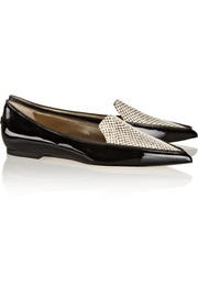 Jimmy Choo Guild patent-leather and snake-effect leather point-toe flats
