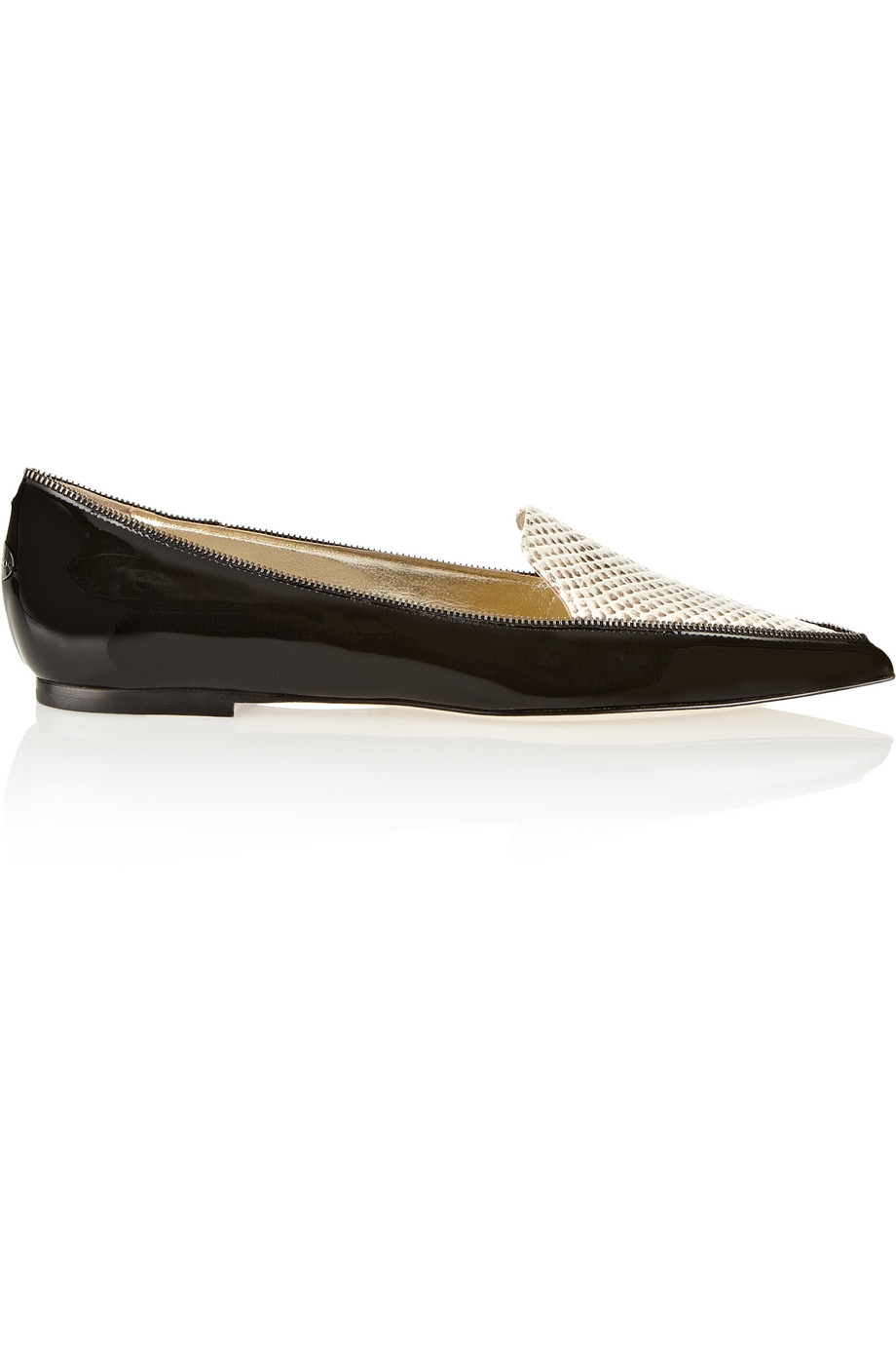Jimmy Choo Guild Patent-Leather and Snake-Effect Leather Point-Toe Flats, Black, Women's US Size: 4.5, Size: 35