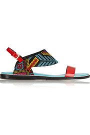 Nicholas Kirkwood Mexican embroidered patent-leather sandals