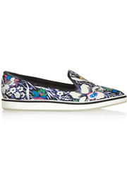 Nicholas Kirkwood Hula leather-trimmed printed twill point-toe flats