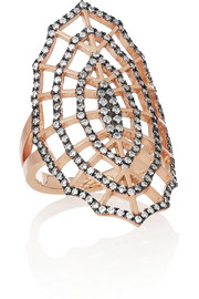 Diane Kordas Spider Web 18-karat rose gold, rhodium-plated diamond ring