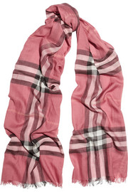 Burberry Shoes & Accessories Checked wool and silk-blend scarf