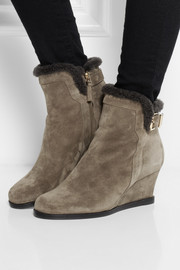Fendi Shearling-lined suede wedge boots