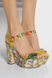 Dolce & Gabbana Printed patent-leather platform sandals