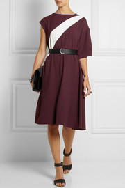 Fendi Asymmetric color-block crepe dress