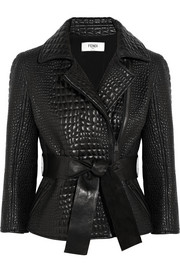 Croc-effect leather jacket
