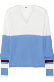Fendi Mesh-trimmed cashmere sweater