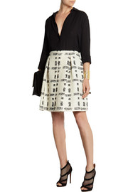 Pleated wool-blend bouclé skirt