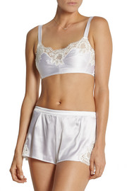 Dolce & Gabbana Lace-trimmed stretch-silk satin soft-cup bra